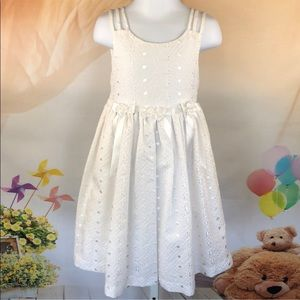Bonnie Jean White Embroidered Pearl on White Dress